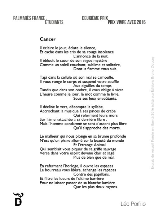 Cancer écrit par Léo Porfilio