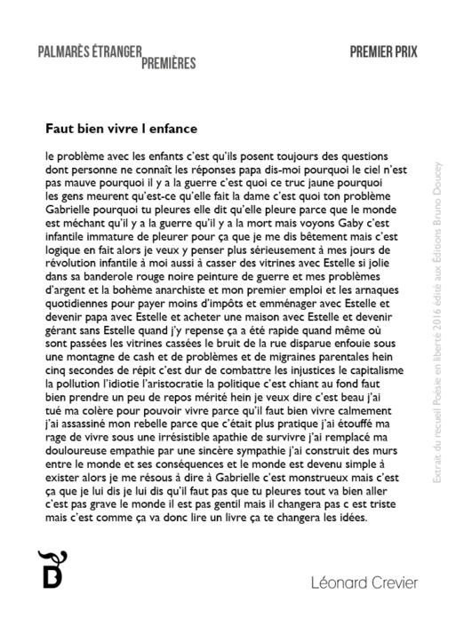 Faut bien vivre l'enfance écrit par Léonard Crevier
