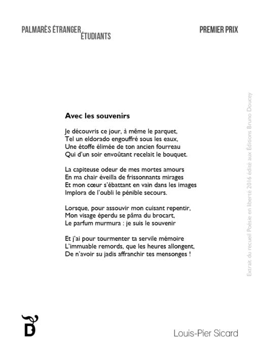 Avec les souvenirs écrit par Louis-Pier Sicard