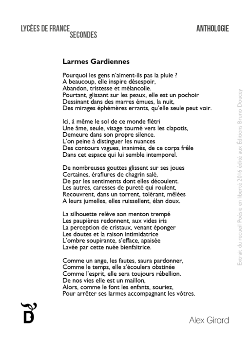 Larmes Gardiennes écrit par Alex Girard