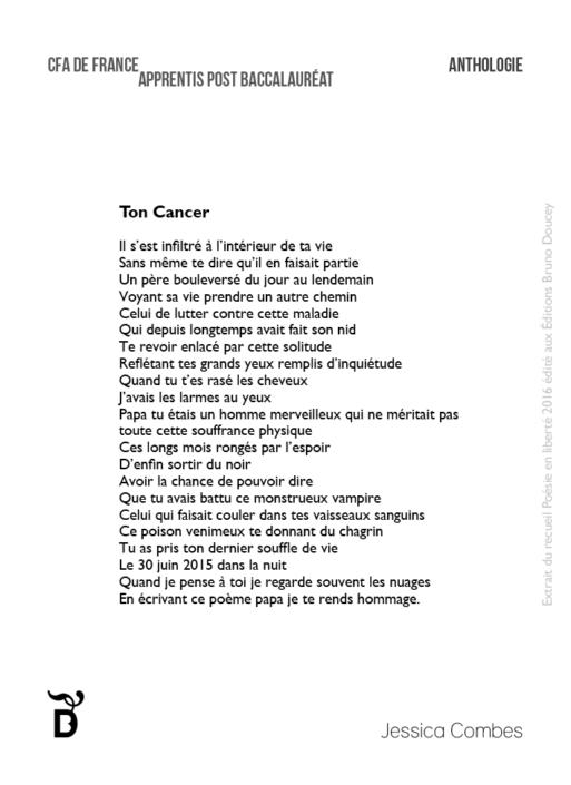 Ton Cancer écrit par Jessica Combes