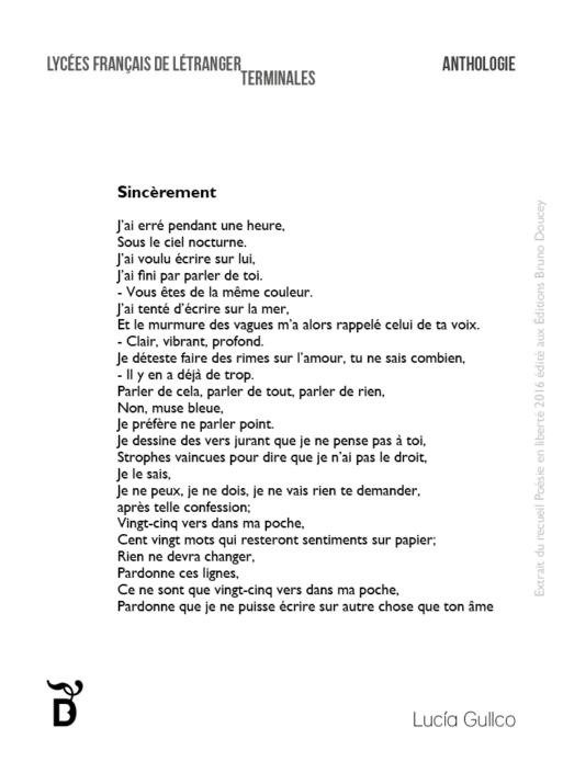 Sincèrement écrit par Lucía Gullco