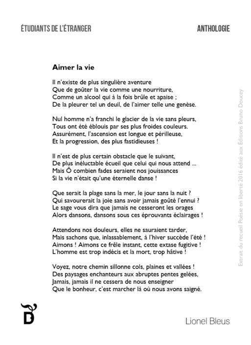 Aimer la vie écrit par Lionel Bleus
