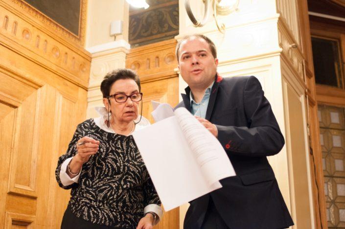 les Maîtres de cérémonie, Nicole Simonet, Vice-Présidente d'honneur et Matthias Vincenot, Directeur artistique