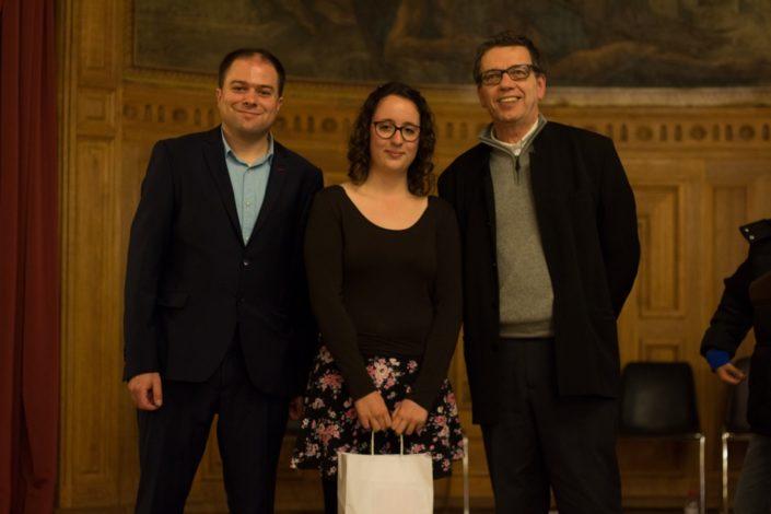 Justine Dorizon, TECOMAH sélectionnée, avec Matthias Vincenot et Jacques Lévy, Proviseur et Vice-Président