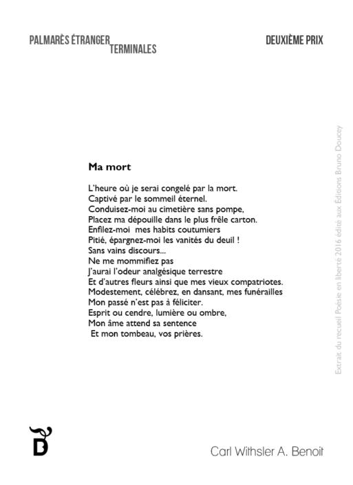 Ma mort écrit par Carl Withsler A. Benoit