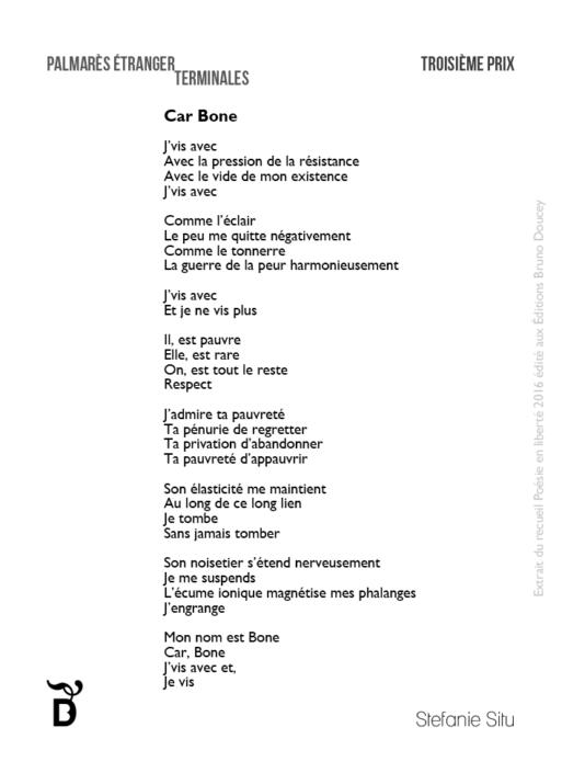 Car Bone écrit par Stefanie Situ