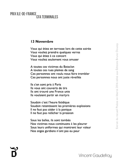 13 Novembre écrit par Vincent Gaudefroy