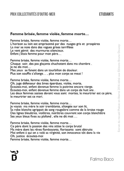 Femme brisée, femme violée, femme morte… écrit par Fatima Baco