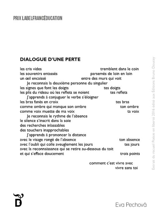 Dialogue d'une perte écrit par Eva Pechová