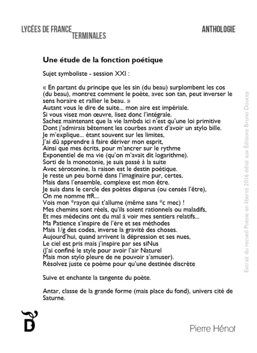 Une étude de la fonction poétique écrit par Pierre Hénot