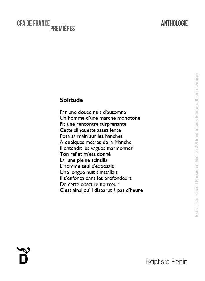 Solitude écrit par Baptiste Penin