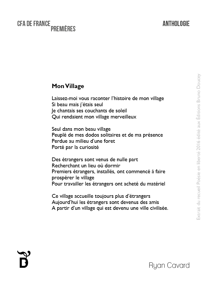 Connu Mon Village - Poésie en liberté YJ66