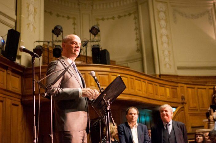 Le Ministre de l'éducation nationale, Jean-Michel Blanquer. Sur sa gauche, Matthias Vincenot et Jean-Marc Muller