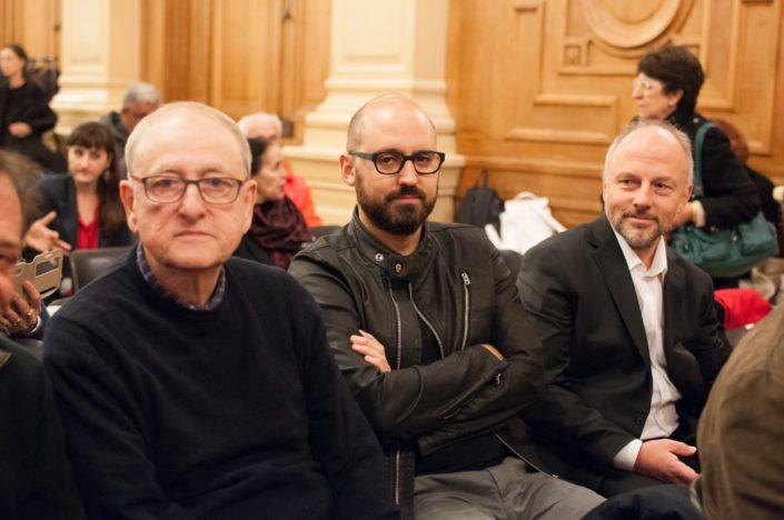 le chanteur Yvan Dautin, le photographe Tristan Sébenne et le Poète Etienne Orsini, Président du Jury 2018, chargé de mission à l'Espace Andrée Chedid à Issy-les-Moulineaux (92)