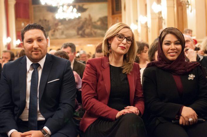 Mohamed Khaled, Premier secrétaire de l'Ambassade d'Algérie en France, Louisa Nadour Ambassadrice Poésie en liberté au Moyen Orient, Madame Duaa Al Aamri, Ambassade du Sultanat d'Oman en France, Premier secrétaire,