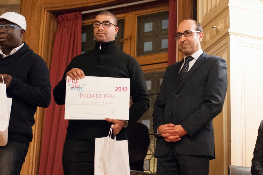 Khalid El Morabethi, 1er prix, Faculté Mohammed 1 Oudja (Maroc) décerné par Tarik Ramdani, Attaché culturel de l'Ambassade du Royaume du Maroc en France