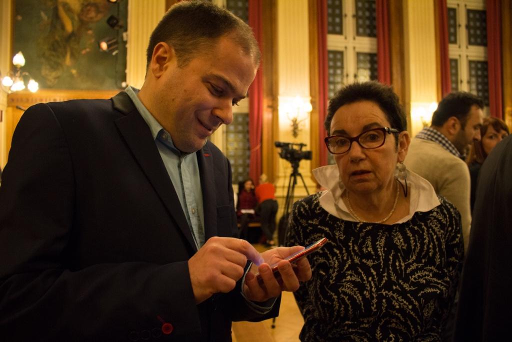 Matthias Vincenot, organisateur de la soirée et Nicole Simonet, Vice-Présidente d'Honneur