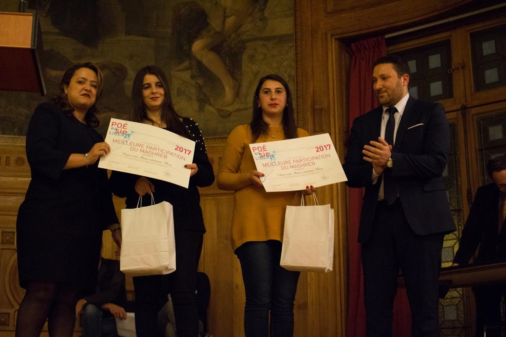 Notre correspondante Lynda Aït Bachir pour le Maghreb, les lauréates de l'Université Abderrahmane Mira de Béjaïa Hasna Redjal et Kattia Galou et Monsieur Mohamed Khaled, Premier Secrétaire près de l'Ambassade d'Algérie en France