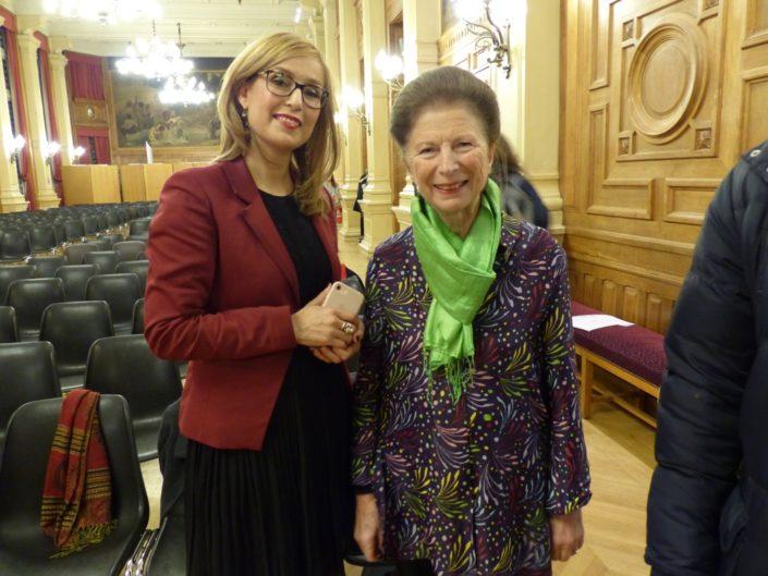 Louisa Nadour, Ambassadrice de Poésie en liberté au Moyen Orient et Colette Nys-Mazure, Présidente du Jury 2017