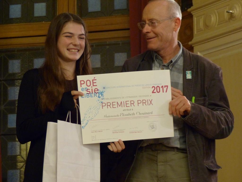 Elizabeth Chouinard, 1er prix, Ecole d'éducation internationale de Mcmasterville (Canada) et Didier Janot, Esperanto-France