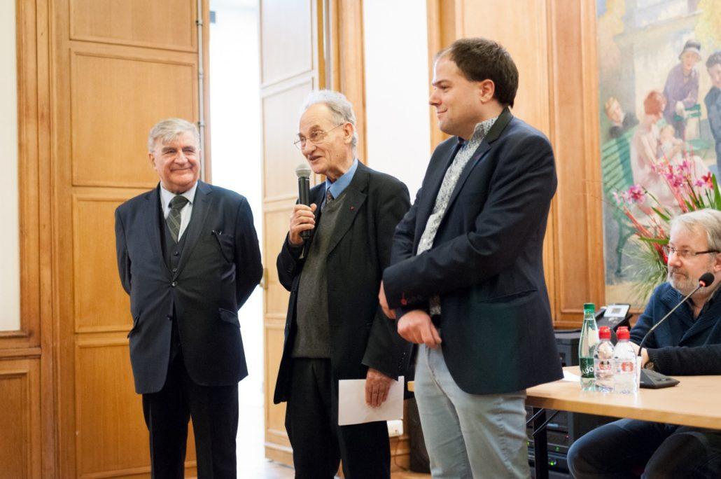 Pierre Brunel, entouré de Jean-Marc Muller et Matthias Vincenot