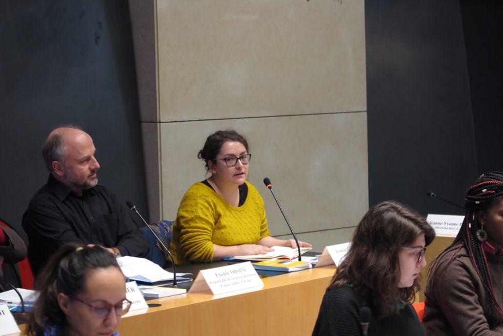 Louise Champire, administrateur du Printemps des Poètes à gauche d'Etienne Orsini, poète et Responsable de la programmation, Espace Andrée Chedid