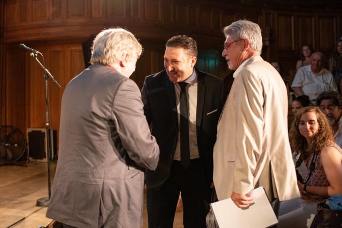 Mohamed Khaled, 1er Secrétaire de l'Ambassade d'Algérie, accueilli par Jean-Marc Muller et Guy Féret