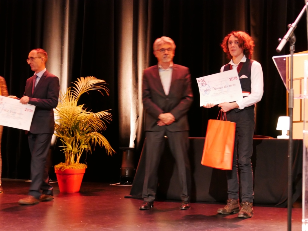 Guy Féret, Président délégué de Poésie en liberté et Loris Schirar, Institution Jean-Paul-II - Compiègne (60), Prix Dis-Moi Dix Mots 2018