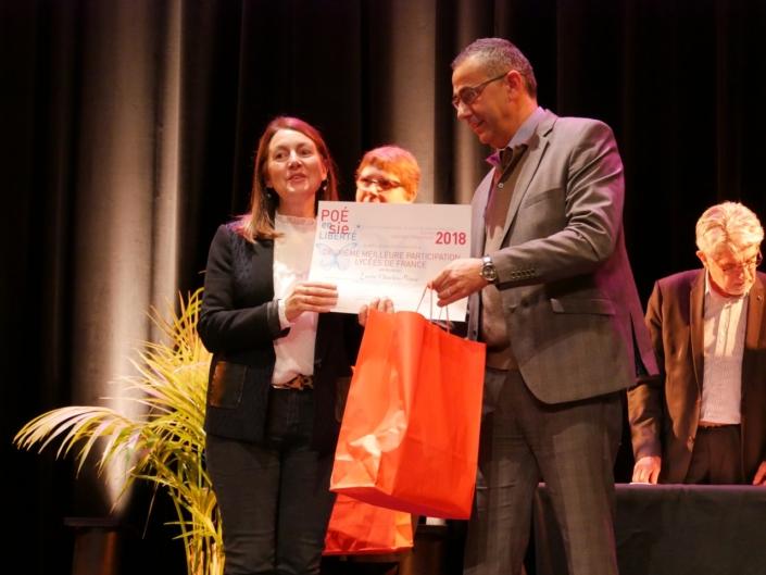 Nabil Kerouaz, partenaire, et Elisabeth Batier, pour représenter le Lycée Charles-Péguy, Orléans (45), 2ème Meilleure participation des Lycées de France