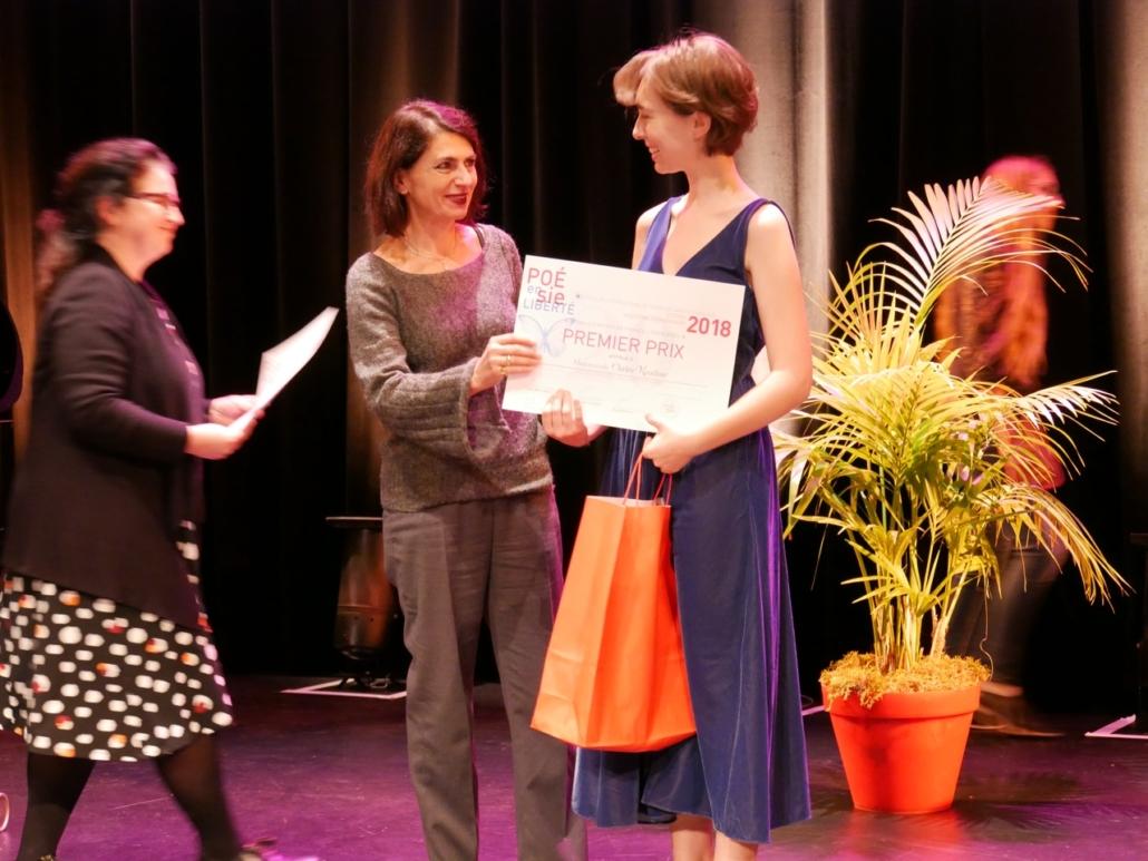 Dominique Pince-Salem, DGESCO au Ministère de l'Education Nationale et Claire Kozlow, Lycée Sainte-Marie-Grand-Lebrun - Bordeaux (33), 1er prix des Premières