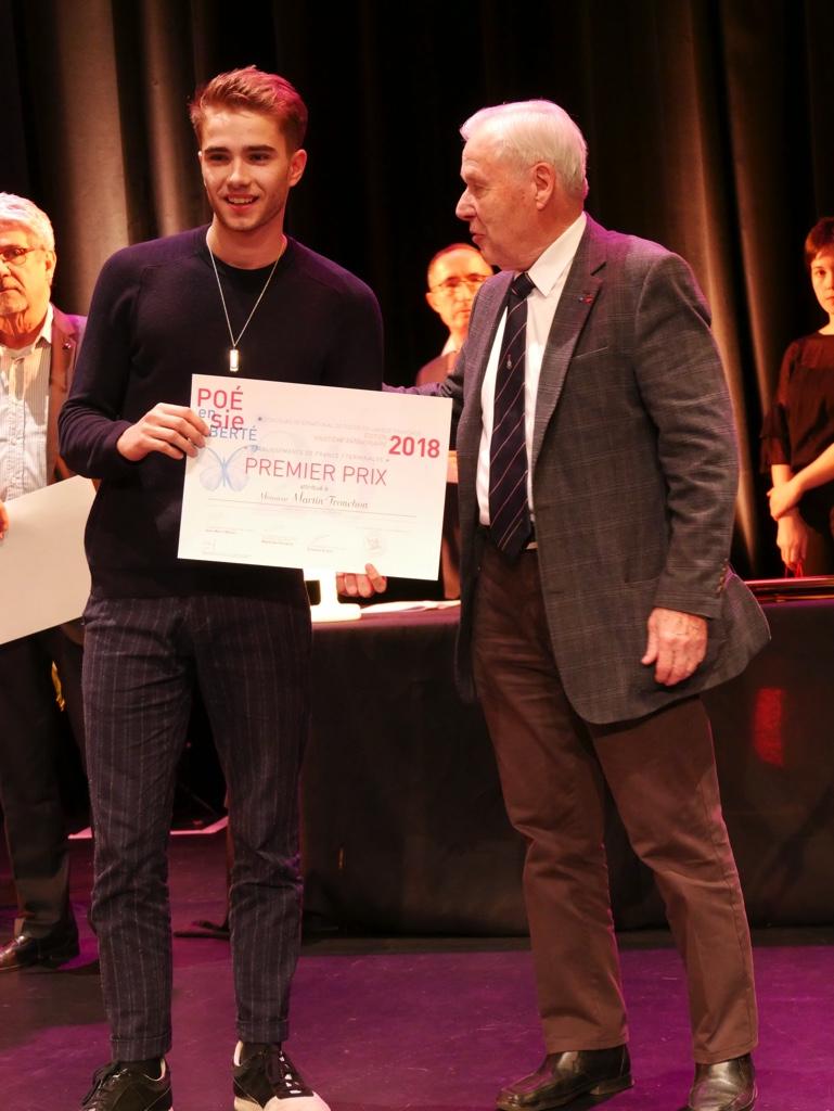 André Henry, ancien Ministre du Temps libre et Martin Tronchon, Lycée Saint-Just - Lyon (69) 1er prix des Terminales