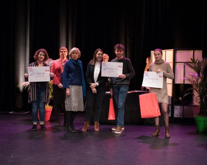 Prix des Secondes : Marine Laffort, 2ème prix, Claire Szabo, Maire adjoint de la Ville d'Issy, Elisabeth Jouhaud, Elisabeth Batier et Martin Goillot, 3ème prix et Jeanne Guilment