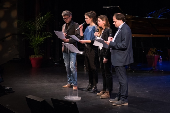 Les comédiens Frédéric Gorny, Hane Mathisen Haga, Coline Béal et le Directeur artistique Matthias Vincenot