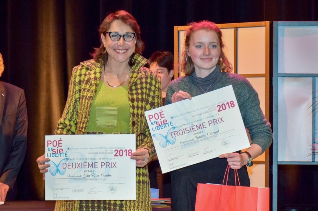 Mariane Tanzi, Directrice académique adjointe, DSDEN 92, membre du Comité de lecture et Juliette Chivard, Lycée Hector-Berlioz - Vincennes (94), 3ème prix des Terminales