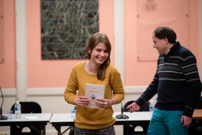 """Eva Pechova et son premier recueil en français """"Sensations dérivées"""" avec son Directeur de Collection """"Voix d'Aujourd'hui"""" Matthias Vincenot"""