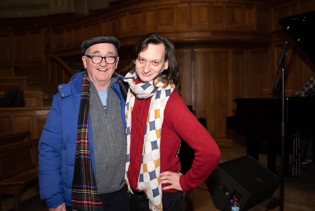 André Prodhomme, poète, Président du Jury 2013 et Etienne Champollion, compositeur, musicien, ancien lauréat et juré du concours.