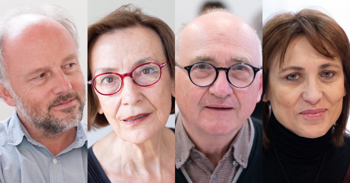 Comité de sélection 2020 : Étienne Orsini (© C. Baron), Lucienne Deschamps (© E. Rosenfeld), André Prodhomme (© C. Baron), Laurence Bouvet (© C. Baron)
