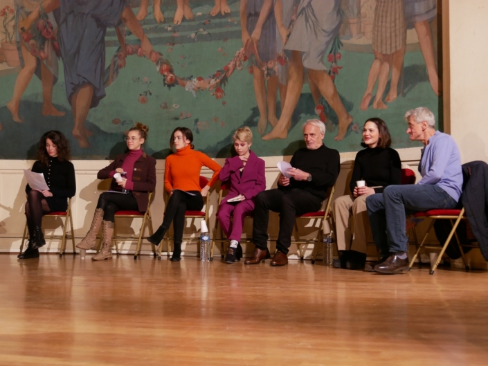 les comédiens Alexandra Oppo, Margot Lourdet, Lou Gala, Léa Furic, Didier Flamand, Clémence Boisnard et Pierre Aussedat