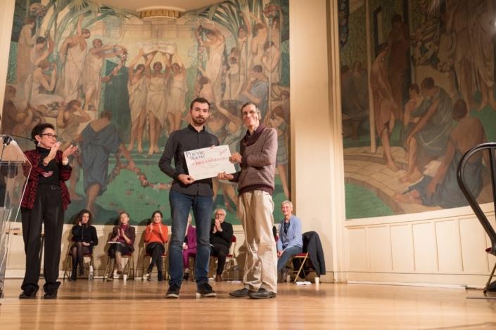 Nathan Vallet et François Lo Jacomo, Représentant de l'Association Universelle d'Espéranto à l'Unesco.