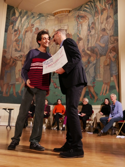 Camille Berger et Didier Loison, Président d'Espéranto France