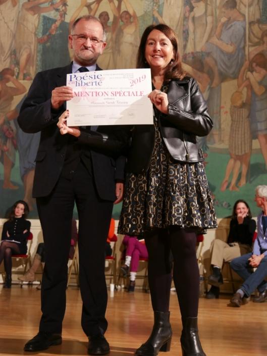 Bernard Martial (pour Sarah Teixeira) et Elisabeth Batier, Professeure, Administratrice de PEL et membre du Comité de lecture