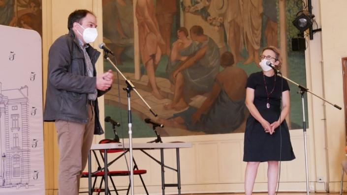 Madame Florence Berthout, Maire du 5ème arrondissement de Paris, amie des Arts et des Lettres et Matthias Vincenot, Directeur artistique