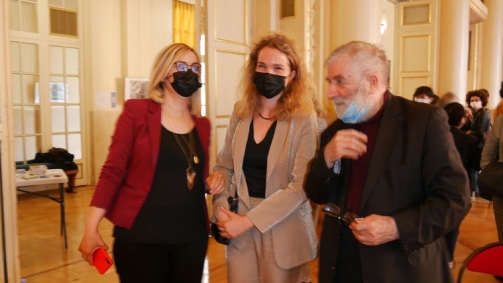 Louisa Nadour et Louise Bachimont (MEN), membres du Comité de lecture et Jean-Marc Muller